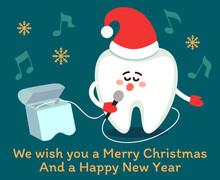 Singing Cartoon Tooth In Santa...