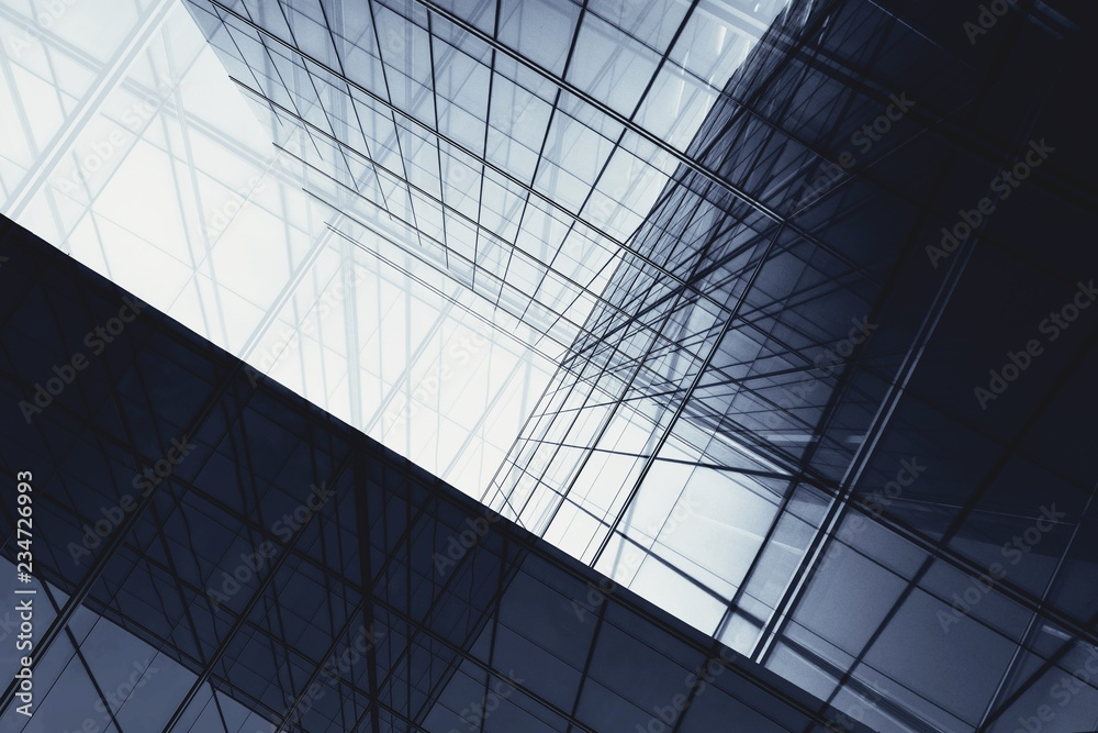 Fototapeta architecture of geometry at glass window - monochrome