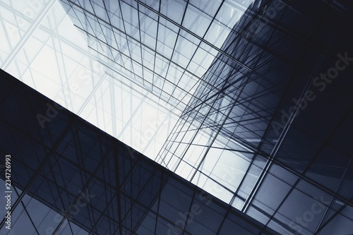 architecture of geometry at glass window - monochrome - fototapety na wymiar