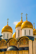 The Domes Of The The Cathedral Of The Annunciation Inside The Kremlin, Moscow, Russia