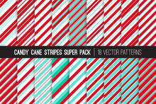 Christmas Candy Cane Stripes Vector Patterns In Aqua Blue, Red And White. Classic Winter Holiday Treat. Striped Backgrounds. Variable Thickness Diagonal Lines. Repeating Pattern Tile Swatches Included