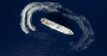 Aerial View Of Two Jet-ski Mov...
