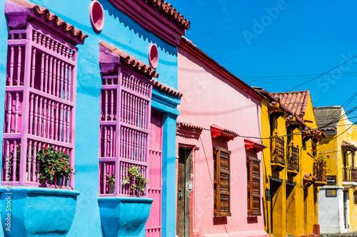 In de dag Zuid-Amerika land Colorful streets of Getsemani aera of Cartagena de los indias Bolivar in Colombia South America