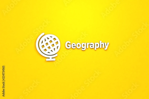 Fotografia  Illustration of Geography with light blue text on yellow background