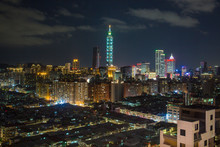 City Skyline And Taipei 101 Bu...