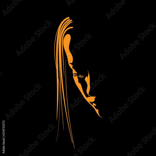 Fotografie, Obraz  Woman face silhouette in contrast backlight. Illustration.