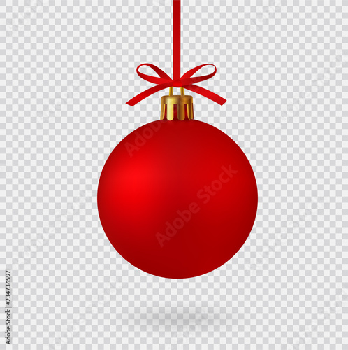 Realistic Red Christmas ball with ribbon and bow, isolated background - stock vector.