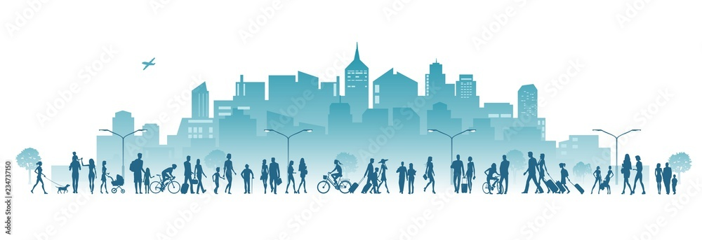 Fototapeta city and crowd of people vector illustration