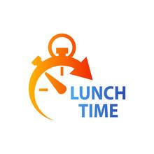 Icono Plano Con Reloj Con Texto LUNCH TIME En Naranja Y Azul