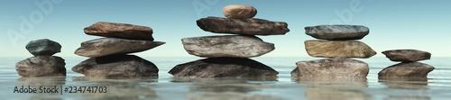 Photo sur Plexiglas Zen pierres a sable Pyramids of stones, beautiful spa background, 3d rendering