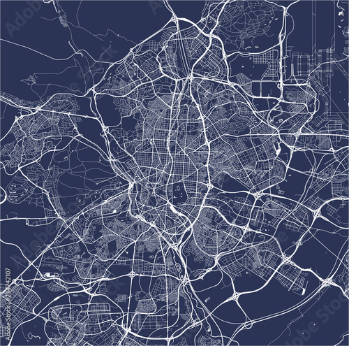 Fotografering map of the city of Madrid, Spain