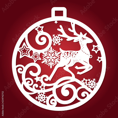 Template For Laser Cutting Christmas Ball With A Deer And