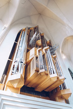 Big Steel Pipes Of Organ In Church