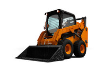 Old Orange Wheel Loader On Wheels With Bucket 3d Render On White Background With Shadow