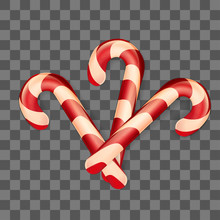 Christmas Candy Canes On Transparent Background. Winter Vector Illustration. Decoration For Design Of Greeting Card.