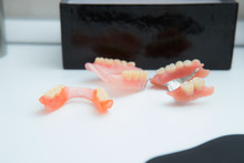Removable Metal Partial Denture On A White Table