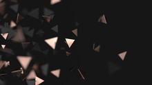 Abstract Triangle Particles. Pink Gold And Black