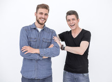 Two Attractive Young Men Isolated On A White Background