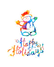 Happy Holidays Card With Snowm...