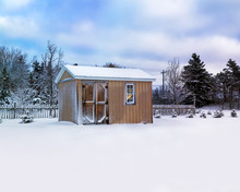 Small Storage Shed In A Winter...