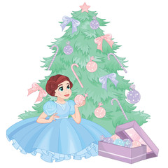 Little Princess decorating a Christmas tree