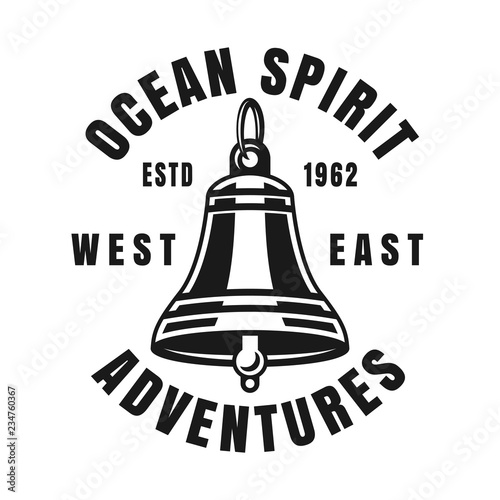 Tablou Canvas Nautical ship bell vector vintage black emblem