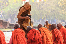 Lumbini, Nepal - April 7, 2014: A Meeting Of Monks At The Holy Tree In Lumbini - The Birthplace Of Lord Buddha