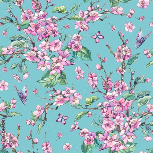 akwarela-wiosna-rocznika-kwiatowy-wzor-z-rozowe-kwitnace-galezie-brzoskwini-wisni-gruszki-sakura