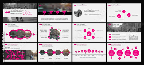 Fototapeta Presentation template. Pink Elements for slide presentations on a white background. Use also as a flyer, brochure, corporate report, marketing, advertising, annual report, banner. Vector obraz