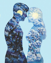 Mosaic - Silhouettes Of A Man And A Woman, Covered With A Pattern With Birds, Night And Day - Double Exposure