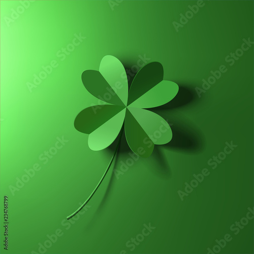 Tela green four-leaf lucky clover leaf vector illustration