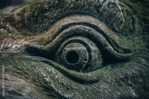 Photo Closeup portrait of Hindu Buddhist traditional stone sculpture