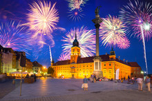 Fireworks Display Over The Royal Castle  Square Of Warsaw, Poland