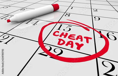 Cheat Day Calendar Going Off Diet Eating 3d Illustration Fototapete