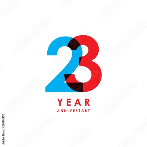 Fotografia  23 Year Anniversary Vector Template Design Illustration