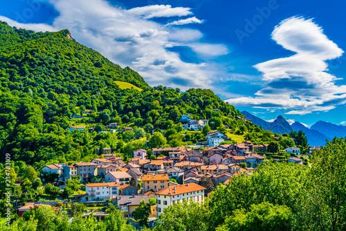 Valokuva  Small village situated on Monte Bré, Switzerland