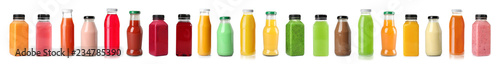 Fototapeta Set with bottles of different juices on white background obraz