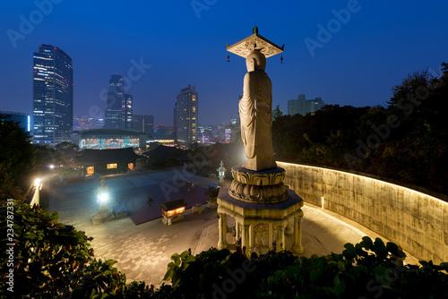 Fotobehang Seoel Bongeunsa Temple in the Gangnam District of Seoul, Korea..
