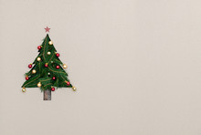 Text Or Logo Empty Copy Space In Vertical Top View Cardboard With Natural Eco Decorated Christmas Tree Pine.Xmas Winter Holiday Season Party Social Media Card Background