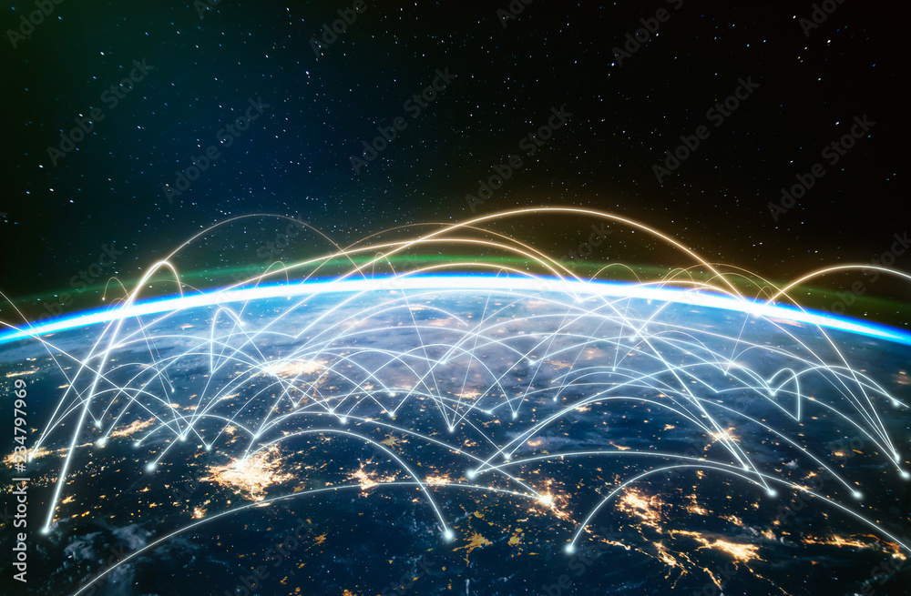 Fototapety, obrazy: Network connected across planet Earth ,  view from space. Concept of smart wireless communication technology . Some elements of this image furnished by NASA