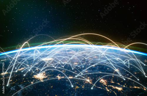 Network connected across planet Earth ,  view from space Wallpaper Mural