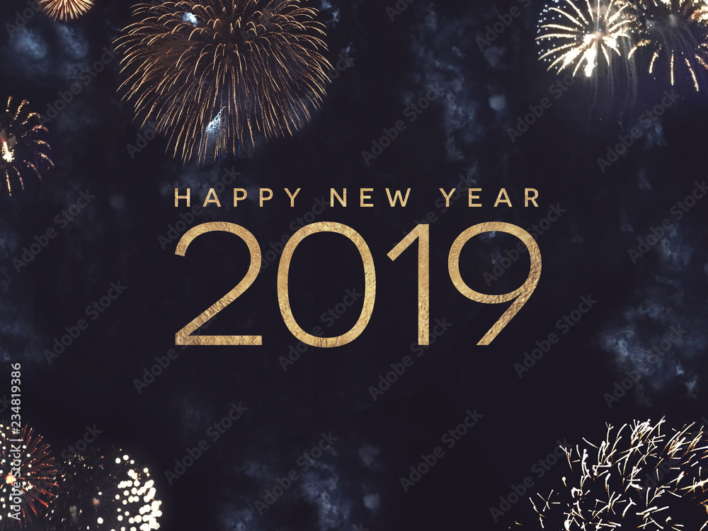 Fototapety, obrazy: Happy New Year 2019 Celebration Text with Festive Gold Fireworks Collage in Night Sky