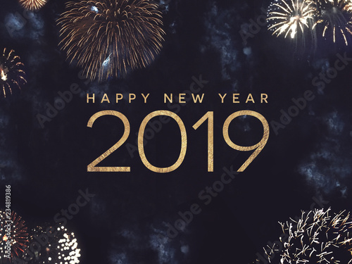 Fotografia  Happy New Year 2019 Celebration Text with Festive Gold Fireworks Collage in Nigh