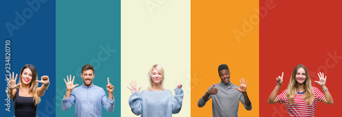 Obraz Collage of group of young people over colorful vintage isolated background showing and pointing up with fingers number six while smiling confident and happy. - fototapety do salonu