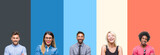 Collage of group of young people over colorful vintage isolated background happy face smiling with crossed arms looking at the camera. Positive person.