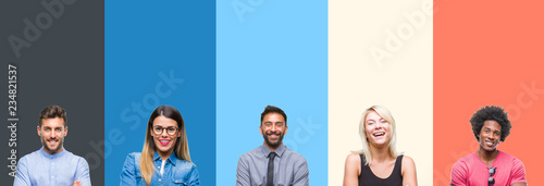 Fotografia  Collage of group of young people over colorful vintage isolated background happy face smiling with crossed arms looking at the camera