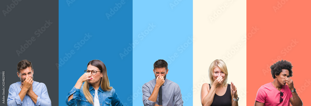 Fototapety, obrazy: Collage of group of young people over colorful vintage isolated background smelling something stinky and disgusting, intolerable smell, holding breath with fingers on nose. Bad smells concept.