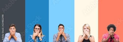 Fotografie, Obraz  Collage of group of young people over colorful vintage isolated background shocked covering mouth with hands for mistake