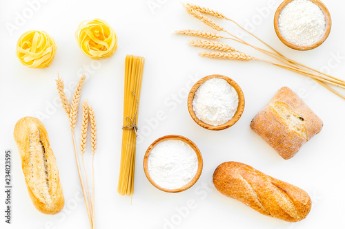 Products made of wheat flour  White flour in bowl, wheat