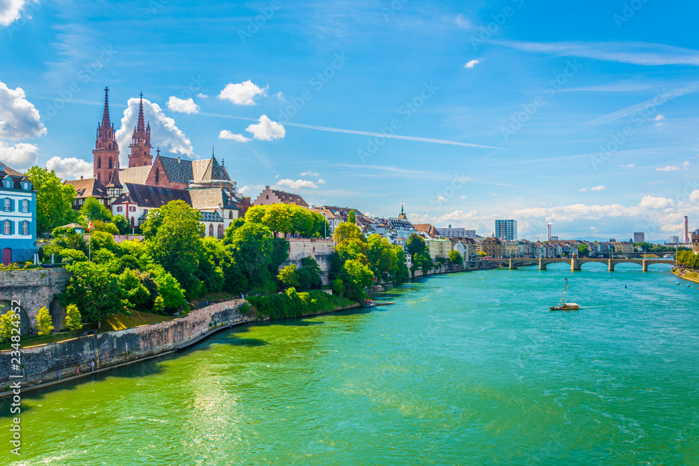 Fototapety, obrazy: Riverside of Rhine in Basel dominated by majestic building of Munster church, Switzerland